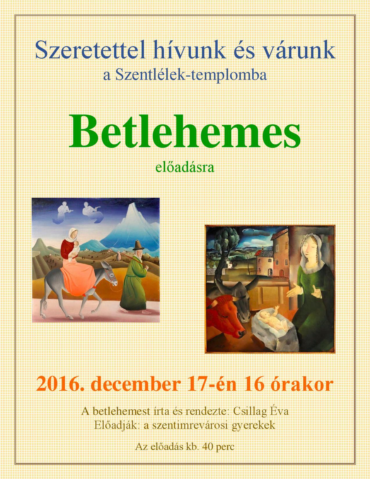 Betlehemes előadás @ Szentlélek-templom