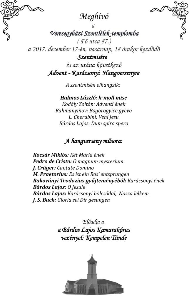 Bárdos Lajos Kamarakórus koncertje